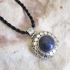 Round Antique Style Genuine LAPIS LAZULI Stone PENDANT & Twisted Cord Necklace