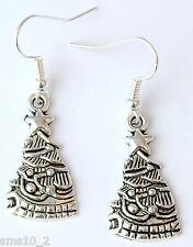 Hand Made Silver Colour Christmas Tree Earrings HCE332