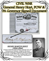 CIVIL WAR General Henry Hoyt, POW & PA Governor Signed Scarce Document