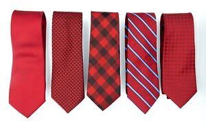 Red Burgundy Black Satin Neck Skinny Men Plaid Check Stripe Tie  (Pack of 5)