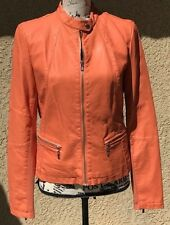 BLACK RIVET WOMENS ORANGE Faux LEATHER ZIPPED FITTED JACKET or COAT Size SML