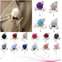 UK Wedding Party Decor Rose Flower Boutonniere Groom Man Bride Corsage Pearl