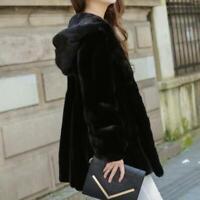 New Womens Faux Mink Fur Hooded Furry Jacket Parka Coat Winter Warm Party S-10XL