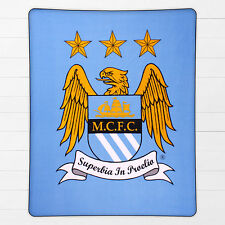 Manchester City Man City FC Football Boys Girls Kids Wrap Fleece Blanket Throw