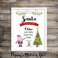 Personalised Santa Stop Here Christmas Children's Gift Print Keepsake