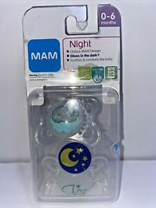 MAM Night Pacifiers 2 Pack 1 Sterilizing Case Moon clouds Pacifiers 0-6 Month