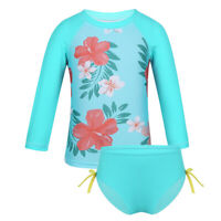 Baby Girls Kids Long Sleeve Rash Guard Swimsuit Flower Tankini Bathing Suits Set