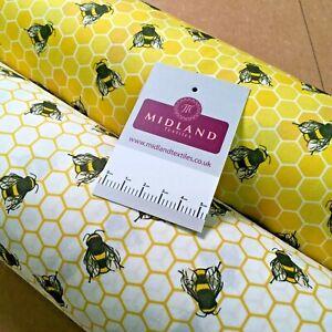 100% Cotton Poplin Bee's printed craft Fabric 110 cm MD1397 Mtex