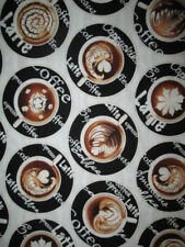 COFFEE LATTE CAPPUCHINO ESPRESSO CUPS BLACK COTTON FABRIC BTHY