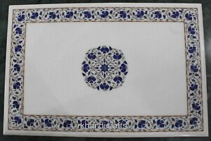 24 x 36 Inches White Marble Coffee Table Top with Lapis Lazuli Stone Sofa table