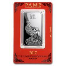 Lingot Suisse PAMP 1 Once Coq argent pur 999 / 1 Oz ROOSTER 2017 Fine Silver Bar