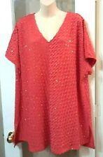 Womens Catherines Pink Gold Ruffle Dress Blouse Shirt Top 2x  3x Tall Long plus