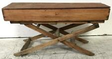 Antique Rustic Trunk On Sawhorse Style Stand Lot 2040