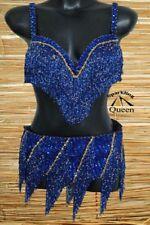 Egyptian Belly Dance Costume bra Belt Professional Dancing Blue  Beads Set