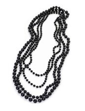 Four Strand Black Beads Flapper Large Necklace Women Ladies Girls Gift Jewelry