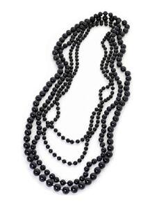 Four Piece Black Bead Strand Flapper Long Necklace Women Ladies Dress Jewellery