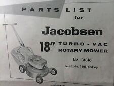 Jacobsen Walk-Behind 18 Turbo-Vac Rotary Lawn Mower Parts Manual 31816 sn 1601up