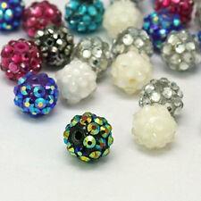 15 Assorted Color Beads Acrylic Rhinestone Resin Balls 12mm - BD170