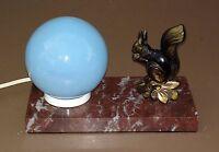 Lampe régule ECUREUIL signé TEDD sur marbre de bureau ancien art déco boule bleu