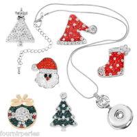 1set 1 Collier Chaîne + 6 Boutons Pression Click Strass Motif de Noël DIY 54cm