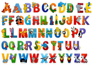 Wooden Jungle Animal Upper Case Alphabet Letters Self Adhesive