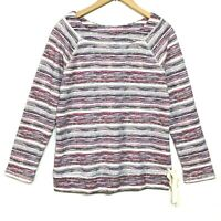 T by Talbots Womens XS Striped Cotton Poly Terry Knit Long Sleeve Sweatshirt Top