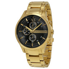 Armani Exchange Black Dial Chronograph Gold-plated Stainless Steel Unisex Watch