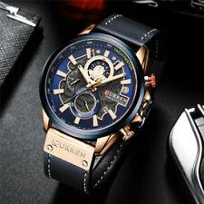 CURREN Men's Watch Chronograph Sport Quartz Watches Date Calendar Leather Strap