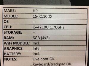 HP 15-R110DX *Parts/Repair* i5/6GB/BATT - No OS/HDD/CHRG