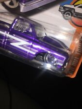 Hot Wheels -  #5/10 - '67 Chevy C10 - Error - BENT front axle HOOSIER Purple