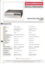 Nordmende original manual de servicio para vídeo Spectra Vision V 500