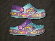 CROCS BLUE BUTTERFLY PURPLE HEARTS CLOGS SHOES GIRLS TODDLERS CHILDREN'S SIZE 9