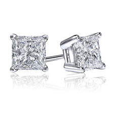 2 Ct Princess Earrings Studs Solid 10K White Gold Brilliant Cut Screwback Basket
