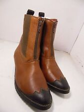 Portugal Brown Leather Ankle Boots Chukka Front Zipper Womens Size 7