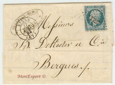 France cover 1853 Lille to Bergues - Presidence