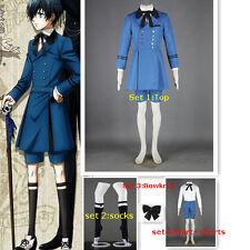 Black Butler Kuroshitsuji Ciel Phantomhive Cosplay Costume Blue Outfit+socks