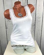 Heine B.C - Damen Shirt Top mit Spitze ärmellos weiß Gr. 36 38 40 42 44 46