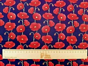 REMEMBRANCE DAY POPPIES - COTTON PRINT FABRIC - ROSE & HUBBLE