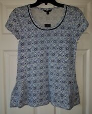 $44 NWT Tommy Hilfiger Blue White Print Scoop-Neck Shirt Top Size XS XSmall