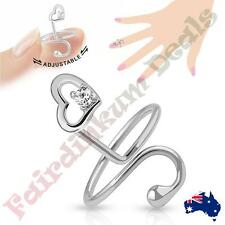 Silver Rhodium Plated Adjustable Nail Ring with Single Gem Heart