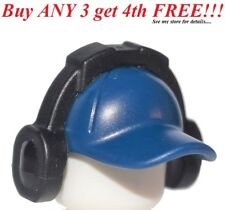 ☀️NEW Lego City Minifig Dark Blue Hat Short Curved Bill w/ Seams w/ Headphones