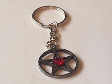 Red Pentagram code dr91 Made From Fine English Pewter on a Split Ring Keyring