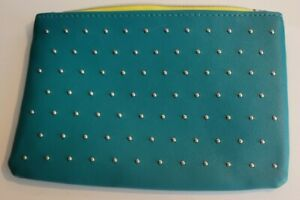 Ipsy Glam Bag March 2020 100th Bag (BAG ONLY) Teal w/ Silver Studs Yellow Zipper