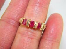 Luxurious !!! 14k Rose Gold Journey Ring w Natural Ruby & Diamonds,  sz 7.25