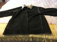 fleece jacket large dark gray/green cream fleece lining