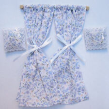 1/12 dolls house blue Miniature Curtains on rail & Cushions miniature DIY LGW