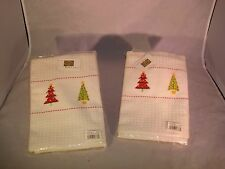"Christmas Stitched Kitchen/Bath Towels 2 Pieces 18""x26"""