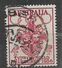 AUSTRALIA STAMPS - QE11 ERA USED 1956 COMMEMORATIVE STAMP, OLYMPIC, ARMS OF CITY