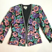 Black Tie Womens Size 8 100% Silk Beaded Sequined Floral Blazer In Black Purple