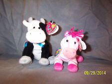 Ty Beanie Baby BB 2.0 ~  BUBBLEGUM the Zebra & Charlie the Cow